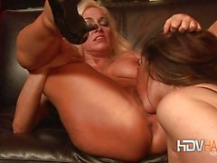 Lesbians With Big Tits and Ass Fucking Strapon