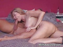 This horny and hot blonde MILF is addicted to lover big cock