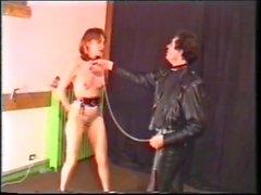 Kinky slut sucks cock and eats cum in torture room