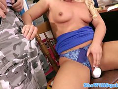 Squirting Cali Carter rides big toy