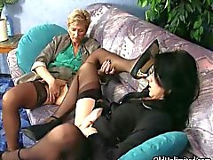 Horny mature whores go crazy rubbing their clits