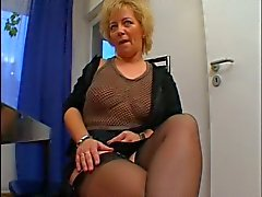 Fat big tits blonde milf teasing daddy's cock before sucking