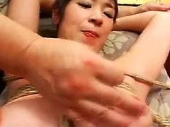 Husband ties up his wife to let a friend finger and toy her