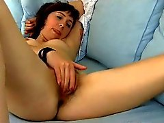 Cute Hairy Girl On Sofa BVR