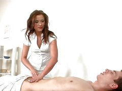 Dude gets his first MILF massage and fuck