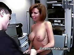 Short hair milf backroom hot blowjob