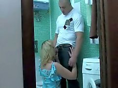 Spunk eating mature blonde seducing hard bodied stud in bathroom