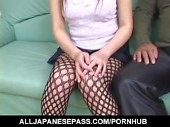 Nanami Komachi has hairy slit fucked with vibrator and hard cock