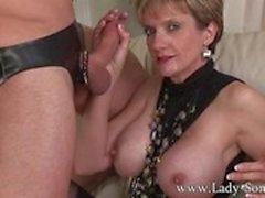 Mistress Lady Sonia cuckold rough sex and facial