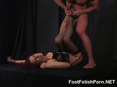 Stripping Malinka Give Footjob