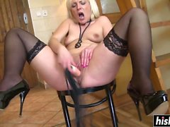 Blonde sweetie tries out a new dildo