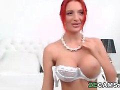 Milf redhead masturbating and fingering