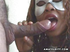 Masked amateur wife sucks cock with facial
