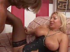 Italian mom in black corset fucked