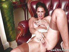 Sexy Milf masturbates in lingerie seamed nylons