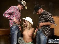Natural tits cowgirl threesome with facial