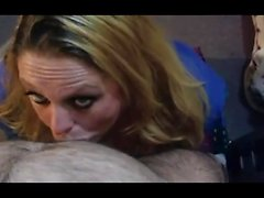 Blonde in POV gives sensual blowjob and pussy fucked
