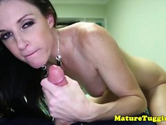 Kinky slender cougar strips and wanks cock