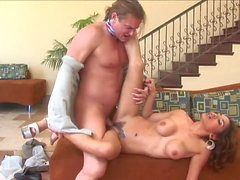 Horny Milf opens her legs wide for a Sales Guy