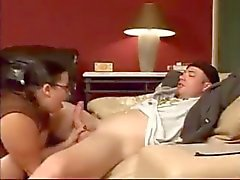 Big natural tit mom likes young cock.