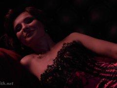 Jeny Smith corset and stockings naked photo shootings