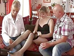 Perverted parents seduces their son's GF