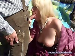 Busty german MILF needs hard anal sex in the mountains