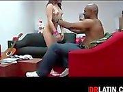 Petite Latina Enjoying A Black Cock
