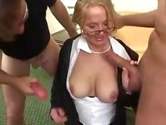 German mature mom anal double penetration and cum swallow