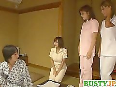 Busty Nana Aoyama is sharing a huge cock in group sex