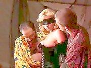Blindfolded girl in lingerie and gloves does DP