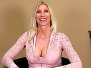 Big milf tits look amazing in skintight pink lace
