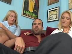 Beautiful blondes likes to suck dick together