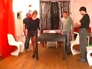 French Lady in stockings gangbanged