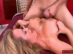 Big tits milf blowjob and facial cum