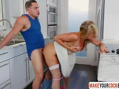 Blonde Step Mom Tucker Stevens In Stockings Helps Son
