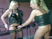 Two German MILF Dominas in Femdom Fuck with her Slave in Dom