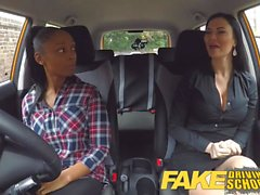 Fake Driving School busty ebony fails her test with lesbian
