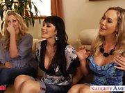 Busty moms Brandi Love, Eva Karera and Julia Ann suck cock