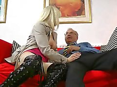 Old man and a slutty blonde milf