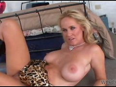 Busty blonde mom getting fucked by two black studs