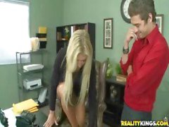Busty blonde is told what to do by her boss at work and does it