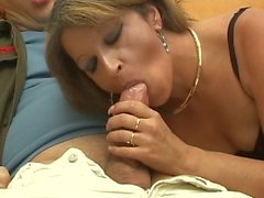 Check out this hot brunette babe that loves fucking big hard cock