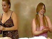 Horny Milf With Slutty Teen Take Turns Jerking