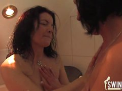 Milf swinger fun in the bathroom