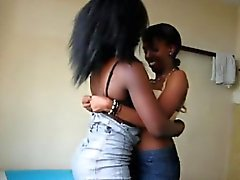 Lesbians from Africa try new strapon toy during sex