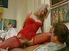 Blonde German red lingerie