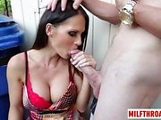 Brunette milf sex with cum on tits