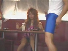 Cute busty Japanese girl being filmed with some pussy flashes