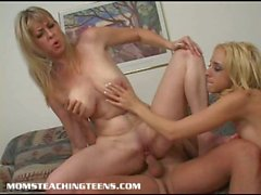 Blonde mom and daughter share cock
